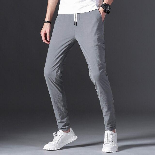 Brands Men pants 2020 New Design Casual hombres pantalones Cotton Slim Pant male Trousers Fashion Business Tie Pants Man 38