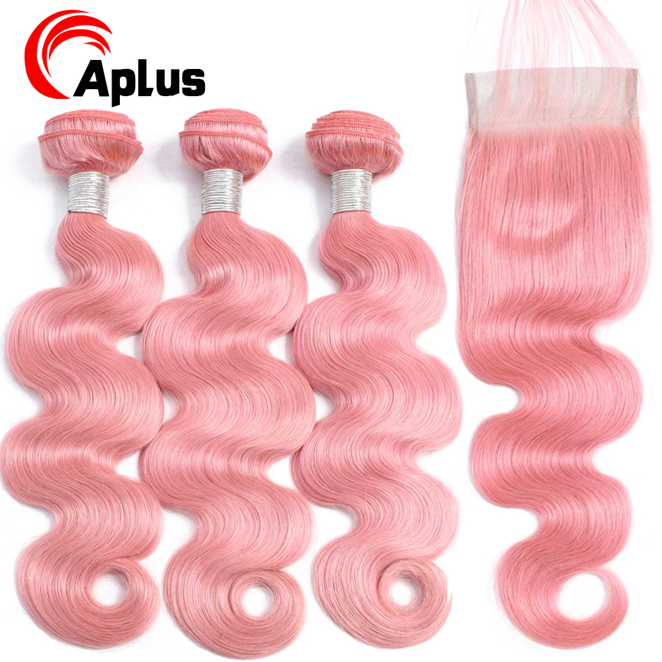 Aplus Remy Hair Body Wave Ombre Bundles With Closure With Baby Hair Rose Pink Closure With Peruvian Hair Bundles 4 Pcs/Lot