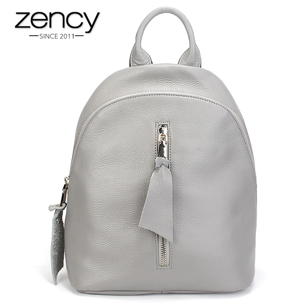 купить Zency Fashion Grey Women Backpack 100% Genuine Leather Daily Casual Knapsack Holiday Travel Bag Preppy Style Girl's Schoolbag