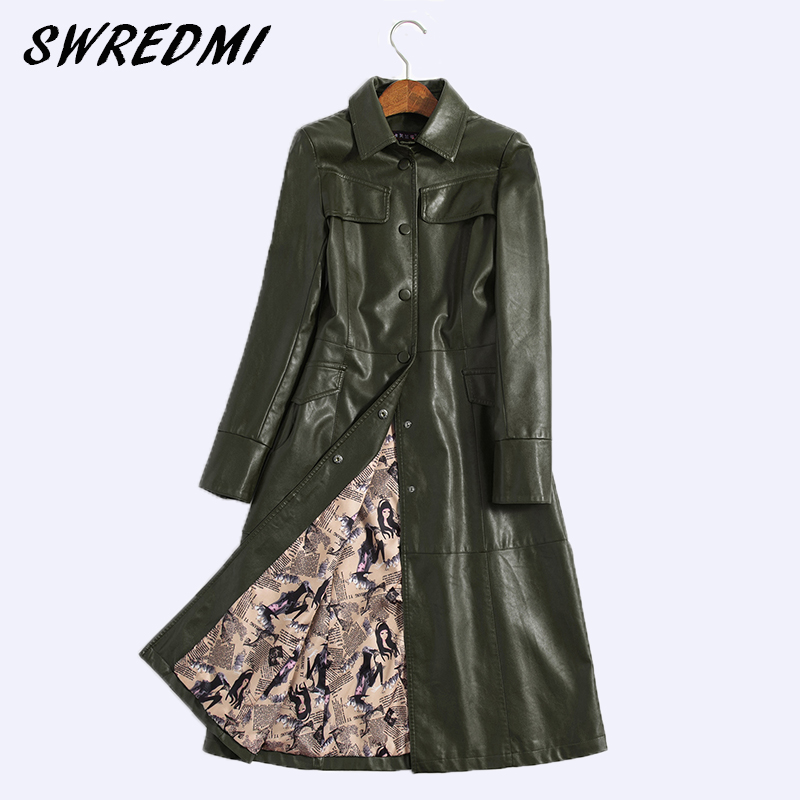 SWREDMI 2018 Spring Autumn Women   Leather   Jacket Fashion High-end   Leather   Coats X-long Belted Slim Winter   Leather   Trench Coats