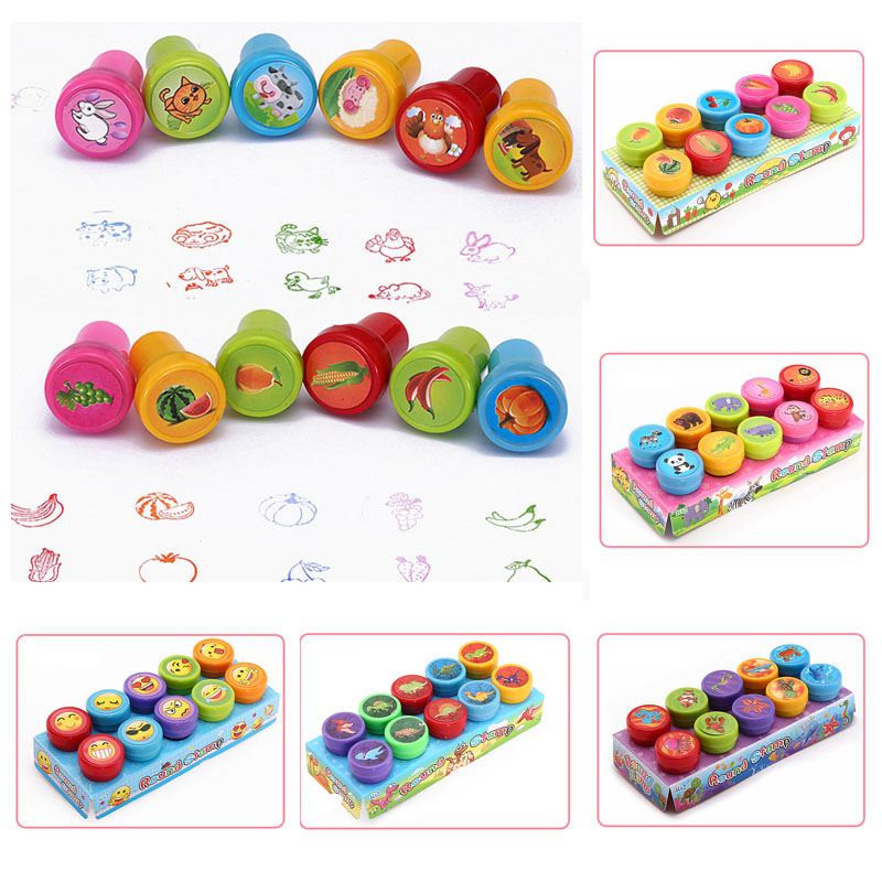 Round Multicolor Fun 10 Pcs Cute Panda Child DIY Scrapbook Kids Stamp Cartoon Rubber Stamps Scrapbooking Reward Toy-in Stamps from Home & Garden