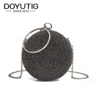 DOYUTIG European Design Shining Circle Evening Bag Women Luxury Diamonds Party Day Cluthes Vintage Lady Mini Crossbody Bags A185