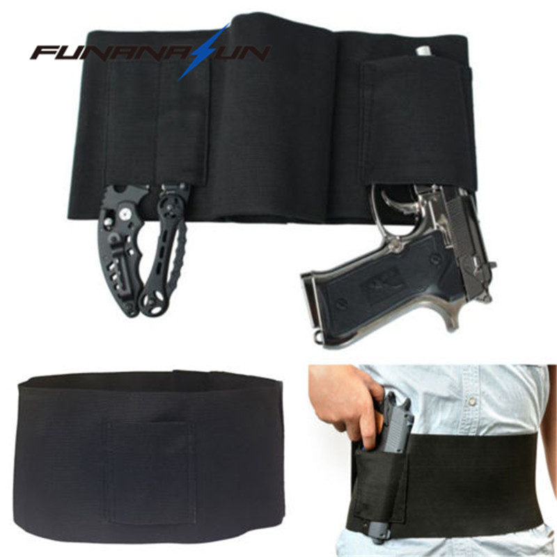 Concealed Carry Belly Band Gun Holster Under Cover Elastic Abdominal Band Pistol Holster With 2 Magazine Pouches Spare No Cost At Any Cost Holsters Sports & Entertainment