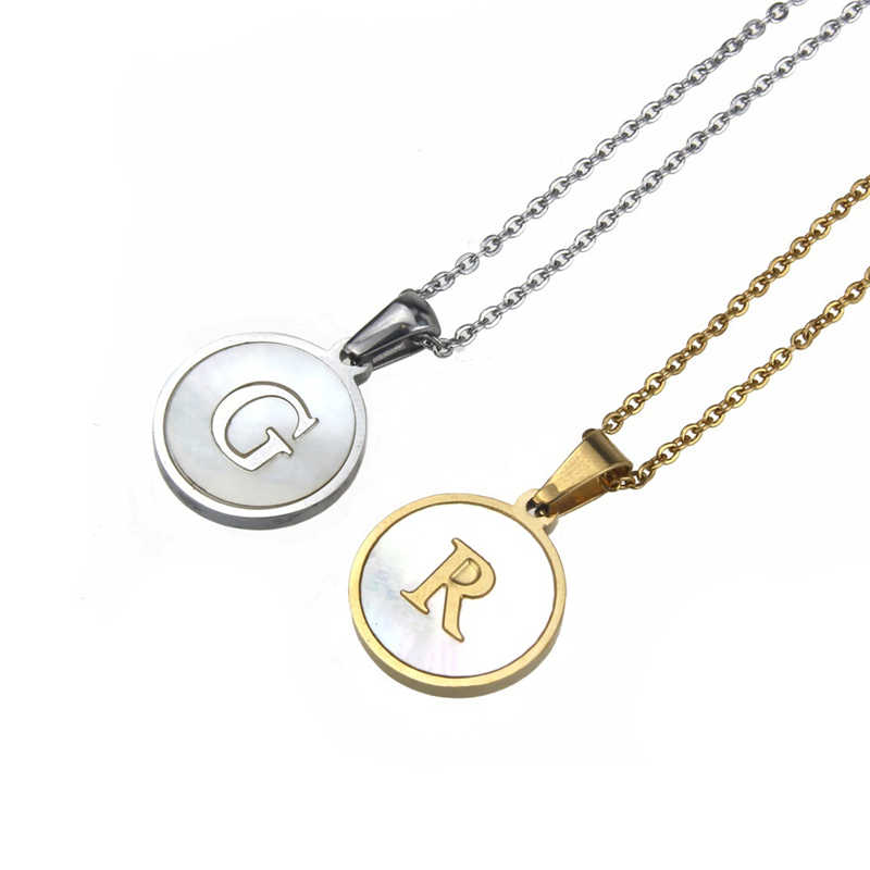 ROMAD A-Z 26 Letter Necklaces Alphabet Initial Shell Pendant Necklace Women Stainless Steel Letter Necklace Choker Collier R4