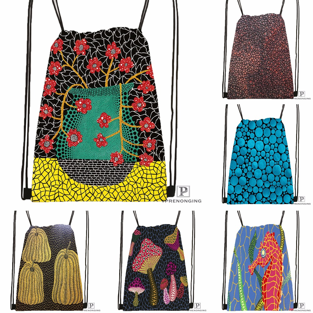 Custom Yayoi Kusama Drawstring Backpack Bag Cute Daypack Kids Satchel (Black Back) 31x40cm#180531-03-10
