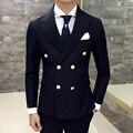 Traje de hombre Retro casual de negocios de color sólido doble de pecho chaqueta Delgada Hombres De las correas Planas costuras cuello de la alta calidad de los hombres 2017