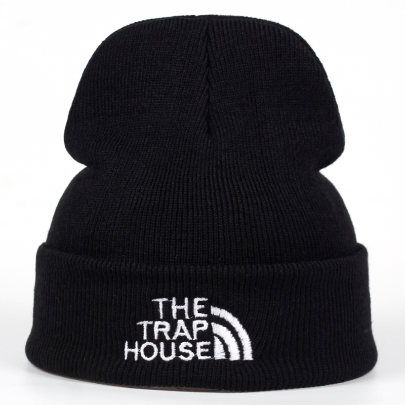 2018 New THE TRAP HOUSE winter Hat women Men   Skullies   Black Gray Women   Beanie   Whiter Hats   Beanies   Warm Knitted Hat Wool Cap