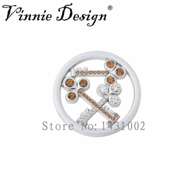 Vinnie design jóias 33mm chave de cristal moeda disco para titular da moeda colar pingente