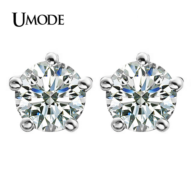 UMODE White Gold Plated Classic 5 Prongs 2ct Cubic Zirconia Post Stud Earrings JE0142