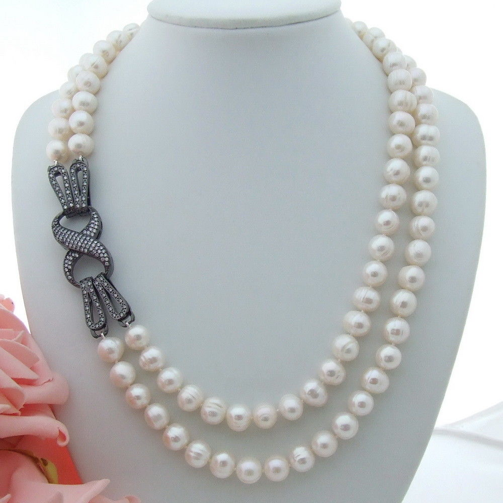 AB080812 21 2 Strands 11mm White Pearl Necklace CZ ClaspAB080812 21 2 Strands 11mm White Pearl Necklace CZ Clasp