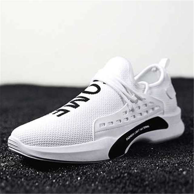 sale retailer eda45 2d93d US $17.44 20% OFF|Men White Casual Shoes 2018 Autumn Breathable Human Race  Sneakers Men Walking Trainers Footwear Male Flat Shoes Tenis Feminino-in ...