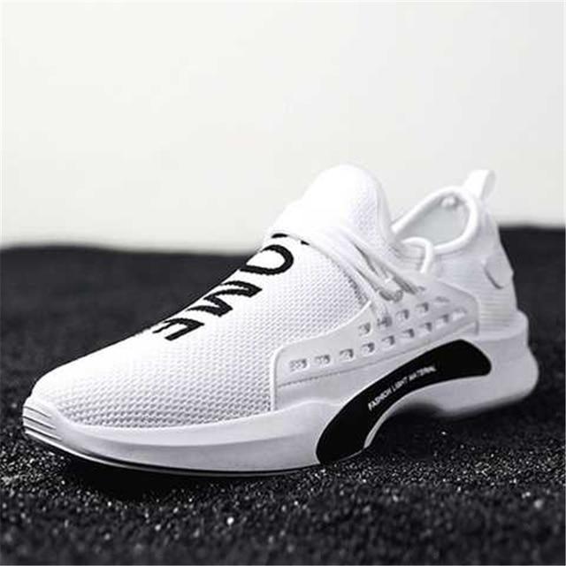 sale retailer 4b364 438cb US $17.44 20% OFF|Men White Casual Shoes 2018 Autumn Breathable Human Race  Sneakers Men Walking Trainers Footwear Male Flat Shoes Tenis Feminino-in ...