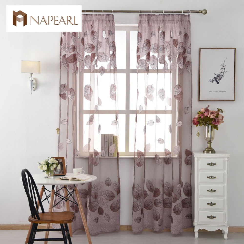For Window Transparent Curtain Organza Modern Room Kitchen Short Leave  Sheer Living Purple Curtains Tulle Fabrics