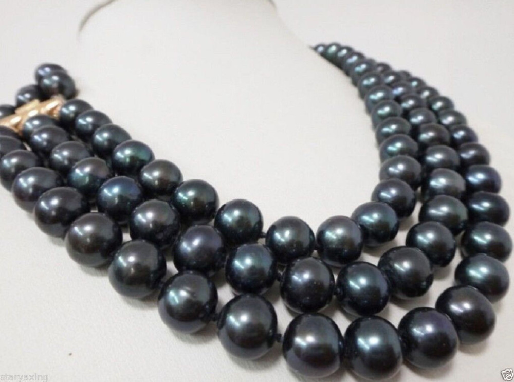 Mode fille> 3 rangées 9-10 MM AAA + collier de perles noires de tahiti naturelle 17