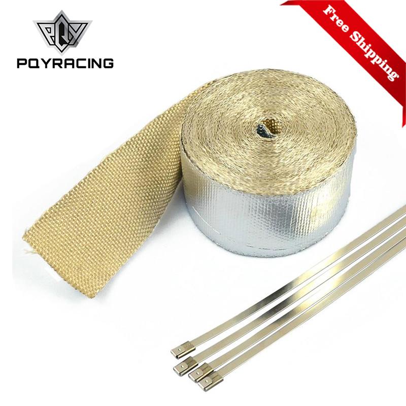 Free Shipping Car Aluminum Reinforced Tape Heat Shield Resistant Wrap For All Intake pipe / Suction Kit WITH 4PCS TIES 1611