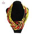 2017 Nuevo Diseño de Las Mujeres Collar de Cadena Hecha A Mano de Tela de la Cera Impresa Africana Collares Colgante de La Joyería Collares WYB08