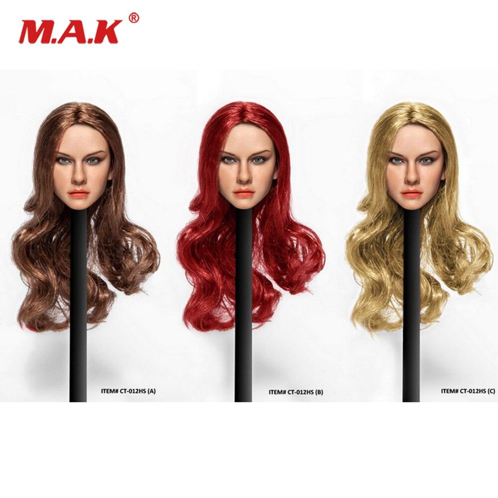 1/6 Femme Chef sculpt Européenne beauté brun/Blond Cheveux Fille Tête Vin rouge longs bouclés cheveux Tête Pour 12 action figure PH corps