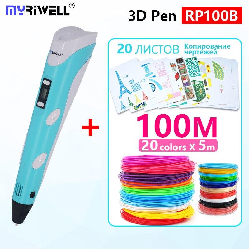 Myriwell 3d stylo rp100b 3d stylos abs 1.75mm pla filament 3d stylo imprimé 3 d stylo 20 couleurs 5 m enfant anniversaire cadeaux 3d poignée