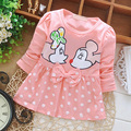 Envío libre el otoño de 2015 nueva ropa del bebé del bebé Coreano de manga larga de algodón vestido A110