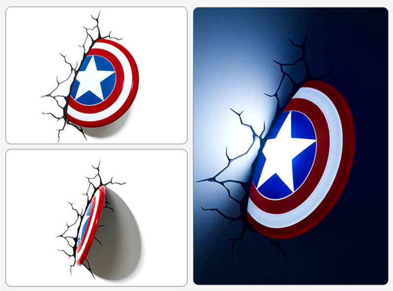 [Funny] Creative The Avengers Captain America shield model Unique 3D Wall Lamp LED light Shield lamp Home room decorations gift trendy the avengers captain america shield keyring
