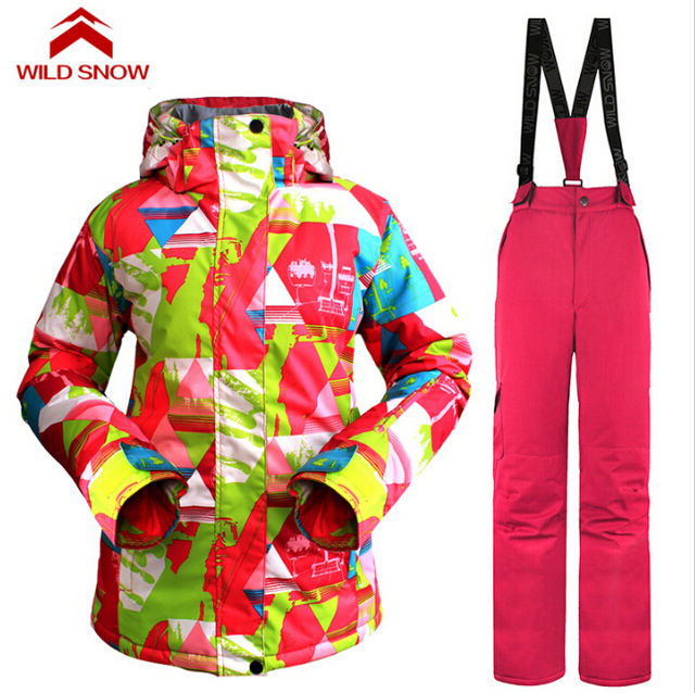 3ae99ecf5b Wild Snow Winter Sports Women s Ski Suit Waterproof Sackets Pants Snowboard  Ski Clothing Set Sportswear