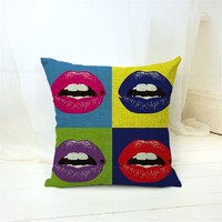 Fashion Style Home Decor Sofa Throw Pillow Lip Cushion Square Printed Cojines High Quality Cotton Linen