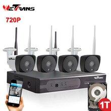 Kamera-überwachungssystem Drahtlose CCTV Kit 4CH P2P HD 720 P Nachtsicht Im Freien Wifi NVR Kit Videokamera Sicherheit Set