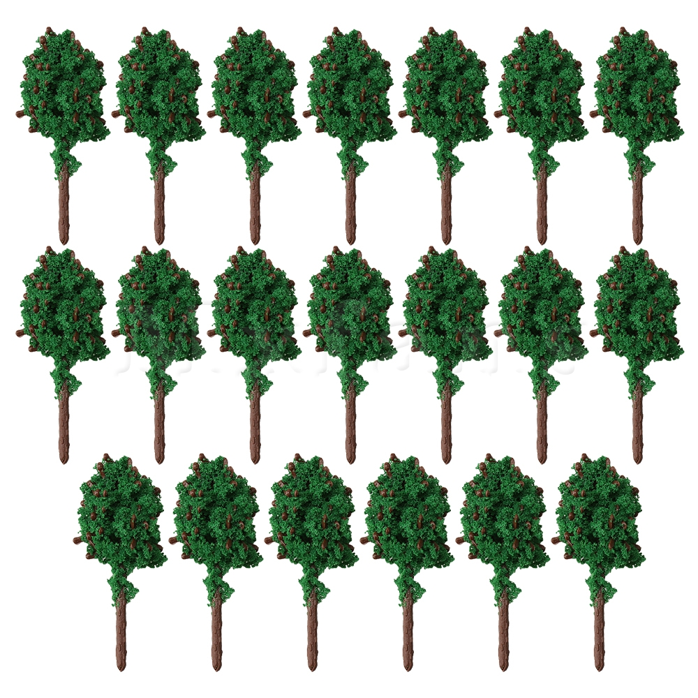 Green Plastic Model Tree Architecture Landscape Sand Table Layout Decoration Railway Scenery Pack Of 20 Meticulous Dyeing Processes Mxfans 3cm/1.81inch h
