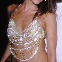 Sexy Halter Brillant Diamants Parti Crop Tops Low Cut Dos Nu Évider Camisole À Paillettes Camisoles Courtes Encolure Bralette