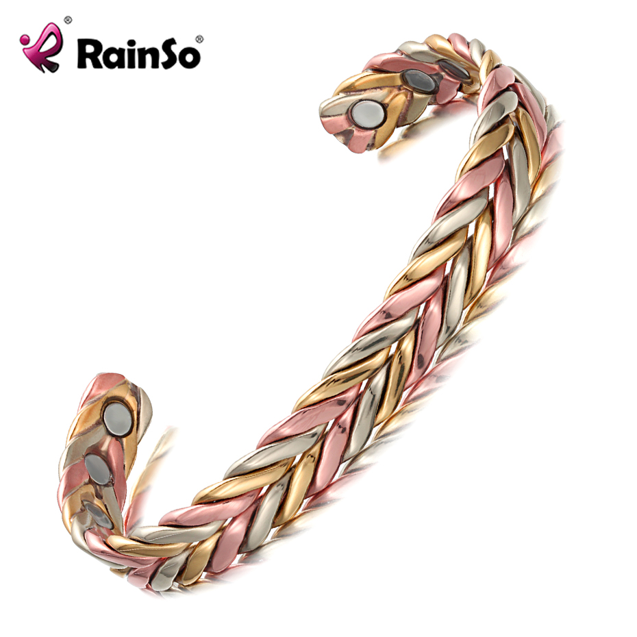 Rainso Brand Fashion Jewelry Pure Copper Bangles for Women Open Cuff Adjust freely Magnetic Therapy Bracelets & Bangles OCB-158 vivari vintage emboss art magnetic cuff for women 100% pure copper bracelet