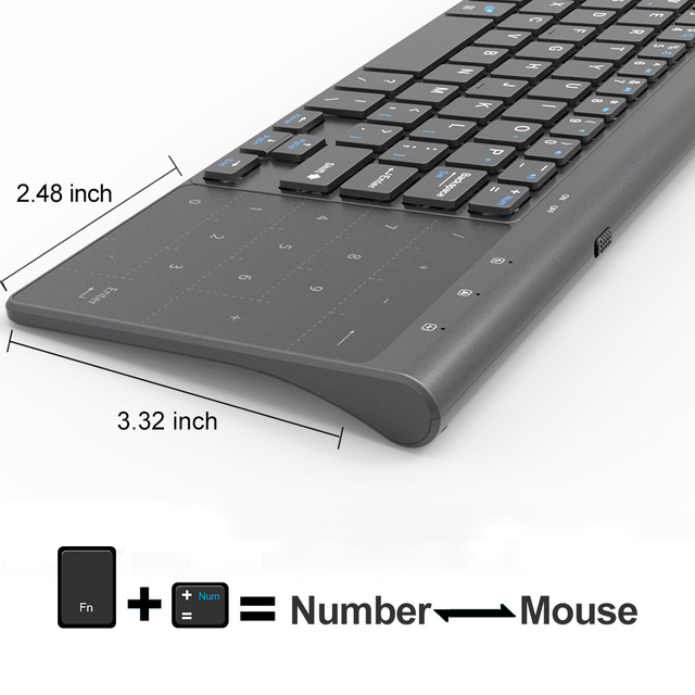 Tynt 2,4 GHz USB trådløst minitastatur med numerisk tastatur numerisk tastatur for Android windows nettbrett, stasjonær, bærbar PC, PC