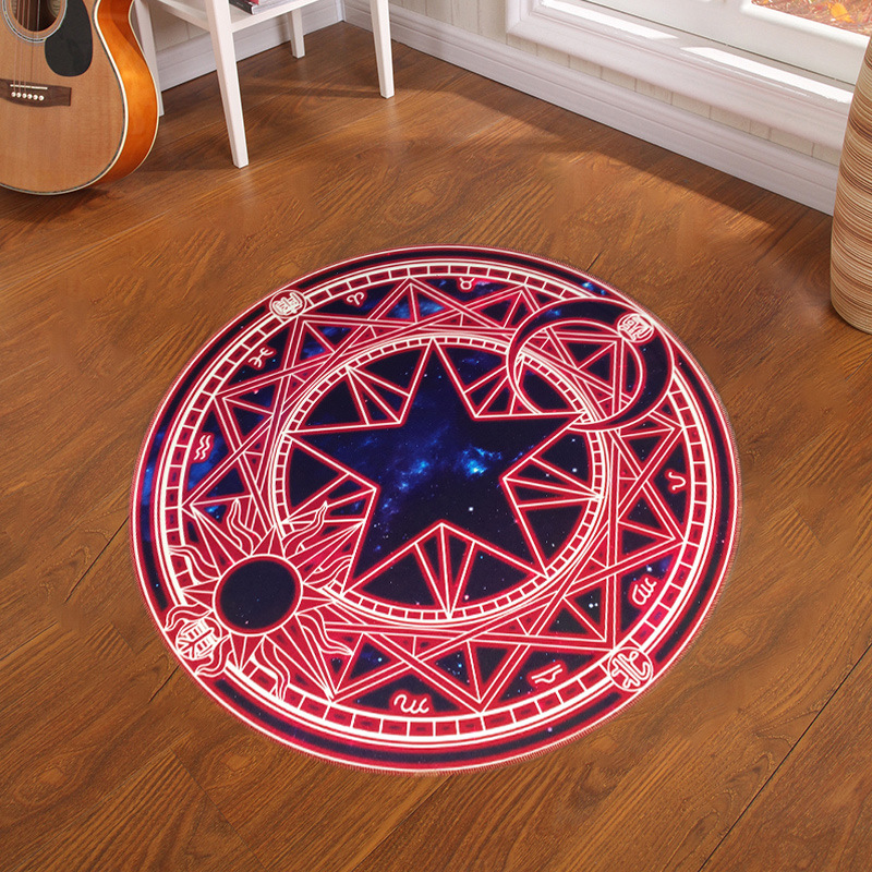 60-100cm Pink Sakura Magic Round Circle Kids Bedroom Carpet Cartoon Children Play Carpet Computer Chair Puzzle Mats