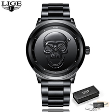 New LIGE Men Watch Top Brand Casual 3D Skull stainless Steel Waterproof Military Sport Male Quartz WristWatch Relogio Masculino