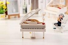 1PC New Cute Lovely Dreamer White Piano Dancer Dancing Alice Ballet Girl Music Musical Box Toy Valentine's KN 021