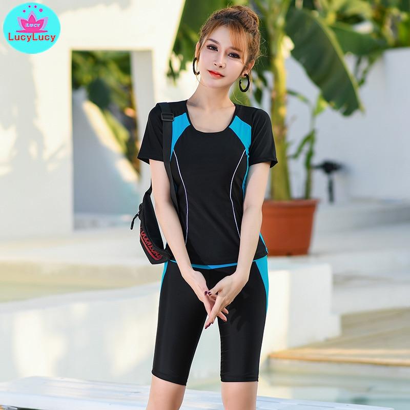 2019 New Summer Women's Korean Fashion Sexy Tight-fitting Swimwear Trousers Was Thin Conservative Bikini Polyester  High-Rise