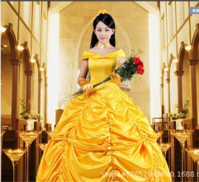 Skönhet och Beast Fancy Dress Cosplay Kostym prinsessa belle vuxna kvinnor kvinnliga Halloween kostymer snygg kostym kostym