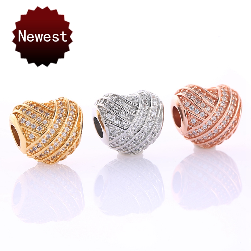 Lovely Heart Beads Fit Original Pandor Bracelet Necklace European Big Hole Heart Charms For Jewelry Making DIY Accessories Gift