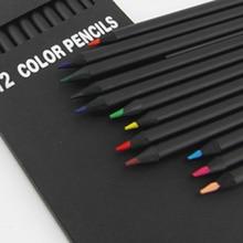 12 шт./компл. высокое качество упаковка карандаша 12 разных цветов Цветные карандаши, милые школьные черные деревянные карандаши