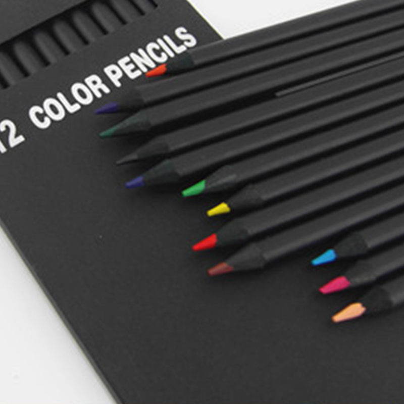 New 12 Pcs/Set High Quality Pencil Packaging 12 Different Colours Colored Pencils Kawaii School Black Wooden Pencils