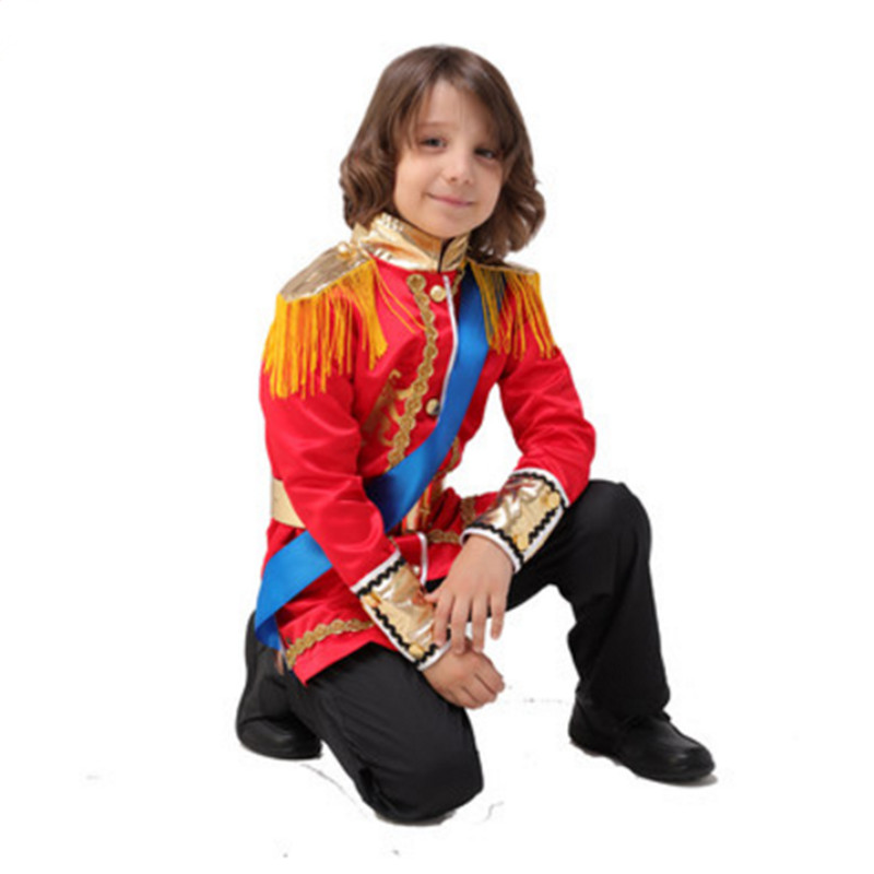 No weapon red royal costumes for children royal prince costume boys halloween cosplay royal prince suit