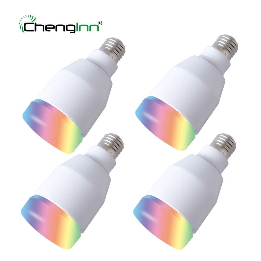 4 Pack E27 умная RGB Bluetooth лампочка лампа 7 Вт динамик беспроводная музыка воспроизведение красочный Диммируемый светодиодный лампочка с дистанц...