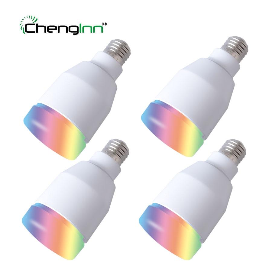 4 paquete E27 inteligente Bluetooth RGB lámpara de bulbo 7 W altavoz de la música colorido LED regulable bombilla remota luz de vacaciones fiesta