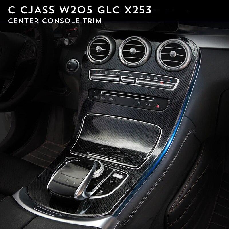 For Mercedes Benz C class W205 2015-2017/GLC X253 2016-2017 Center Console Panel Decoration Cover Trim Carbon fiber color 2pcs