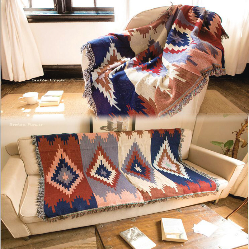 Cotton Kilim Sofa Blanket Geometric Pattern Blanket Living Room Bedroom Rug Soft Carpet Bedspread Tablecloth Tapestry|tapestry table|tablecloth fabric|tapestry bag - title=