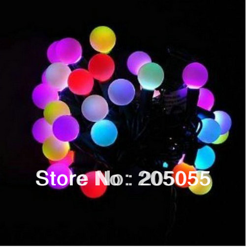 6m 40 led ball string fairy light color changing rgb christmas wedding party xmas 220v black wire rainbow glow colour phasing in led string from lights