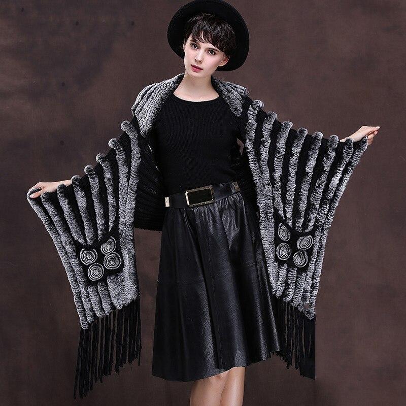 Натуральный трикотаж с мехом кролика шаль пончо с кисточкой 2018 новый стиль женские тканые натуральным мехом Куртки