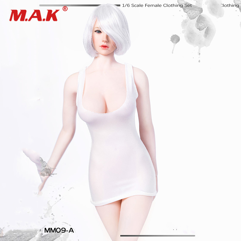 1/6 <font><b>Sexy</b></font> Female Clothes Set 2b Low-cut U Collar Mini Short Dress Girl's Bottoming Shirt Clothing without Shoes for 12'' Action image