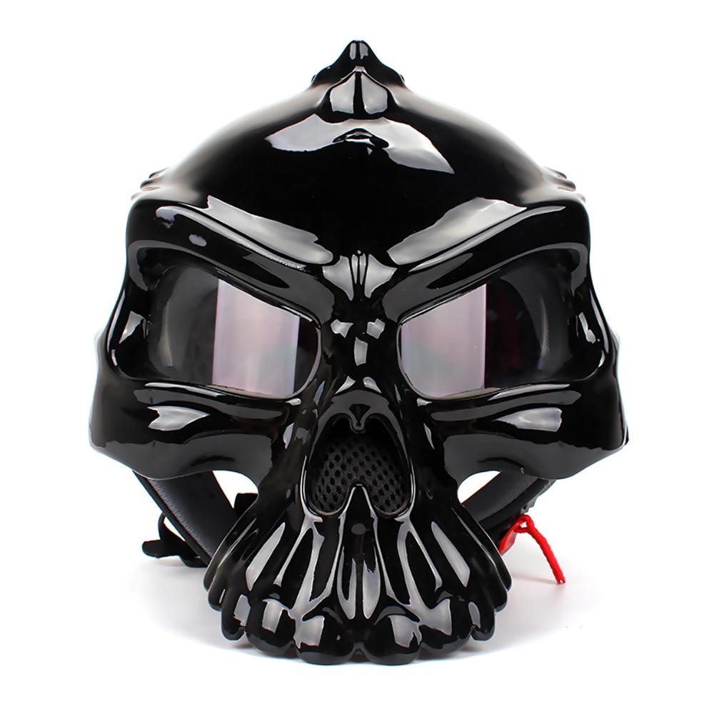Casque Moto crâne casque visage ouvert rétro Chopper Moto motard Motocross casques Moto Double Face vestimentaire