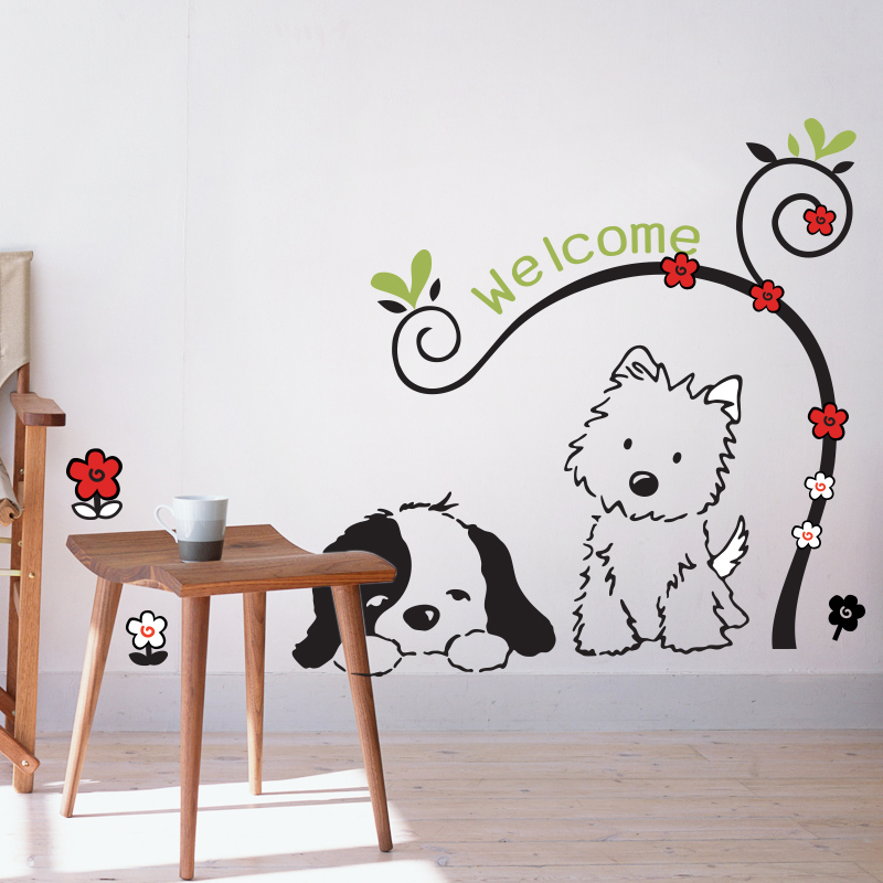 Welcome Wall Decal Sticker Home Decor DIY Removable Art Vinyl Mural For Kids Room Background Hallway Study Room QTB89 Cartoon in Wall Stickers from Home Garden