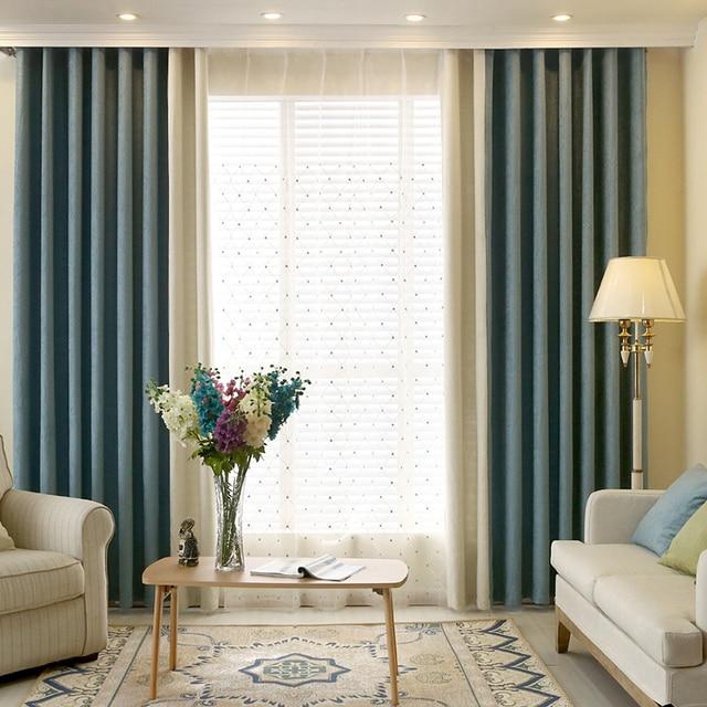 amerikaanse land moderne minimalistische mode kleurschakering chenille gordijnen woonkamer zwart out gordijnen